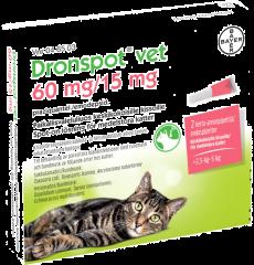 DRONSPOT VET 60/15 mg paikallisvaleluliuos (keskikokoisille kissoille)2x0,7 ml